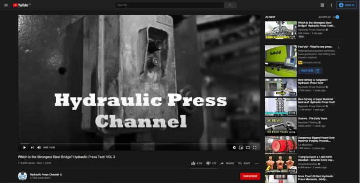 Hydraulic Press YouTube Example